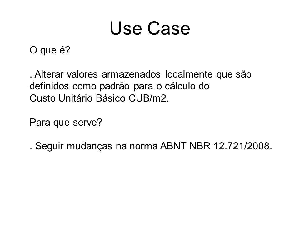 O que é?. Alterar valores armazenados localmente que são definidos como padrão para o cálculo do Custo Unitário Básico CUB/m2. Para que serve?. Seguir