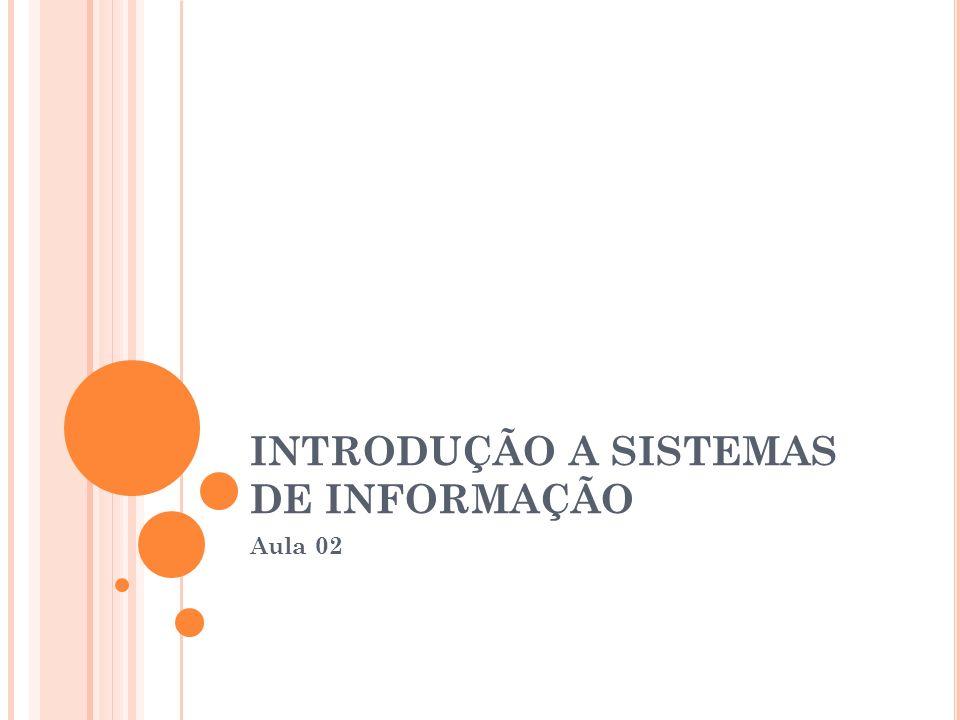 INTRODUÇÃO A SISTEMAS DE INFORMAÇÃO Aula 02