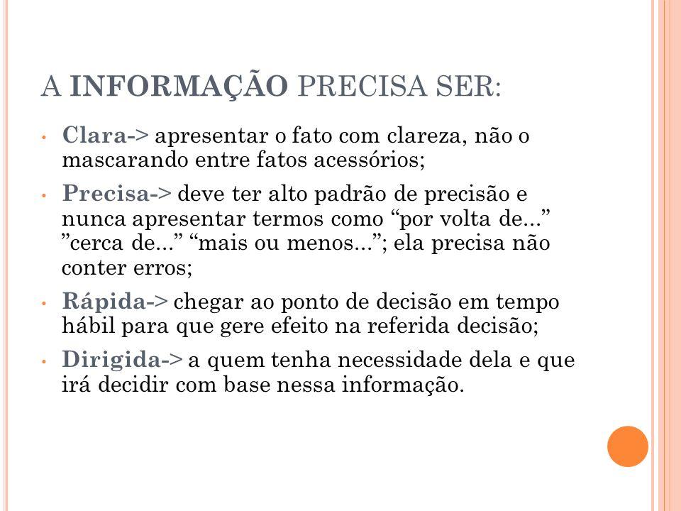 A INFORMAÇÃO PRECISA SER: Clara- > apresentar o fato com clareza, não o mascarando entre fatos acessórios; Precisa- > deve ter alto padrão de precisão
