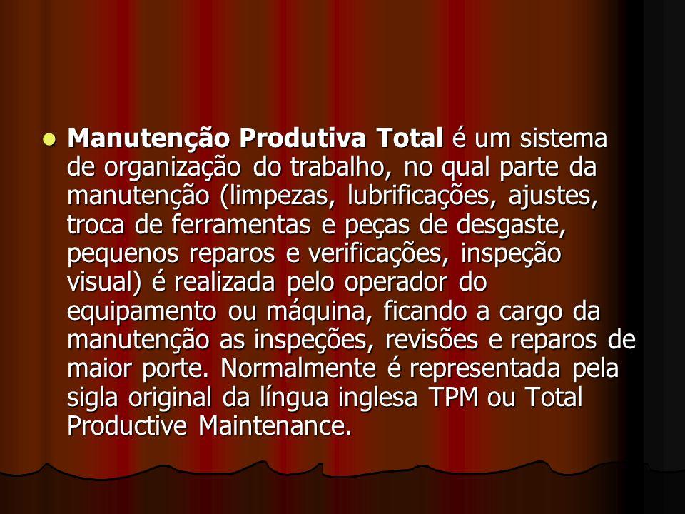Manutenção Produtiva Total é um sistema de organização do trabalho, no qual parte da manutenção (limpezas, lubrificações, ajustes, troca de ferramenta