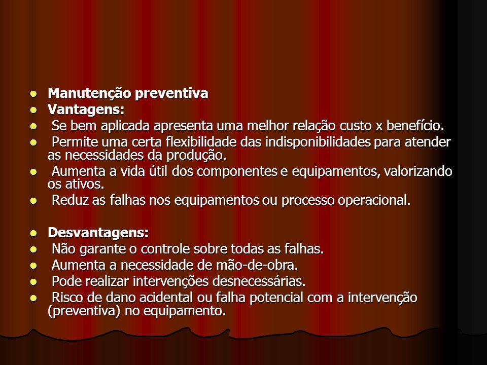 Manutenção preventiva Manutenção preventiva Vantagens: Vantagens: Se bem aplicada apresenta uma melhor relação custo x benefício. Se bem aplicada apre