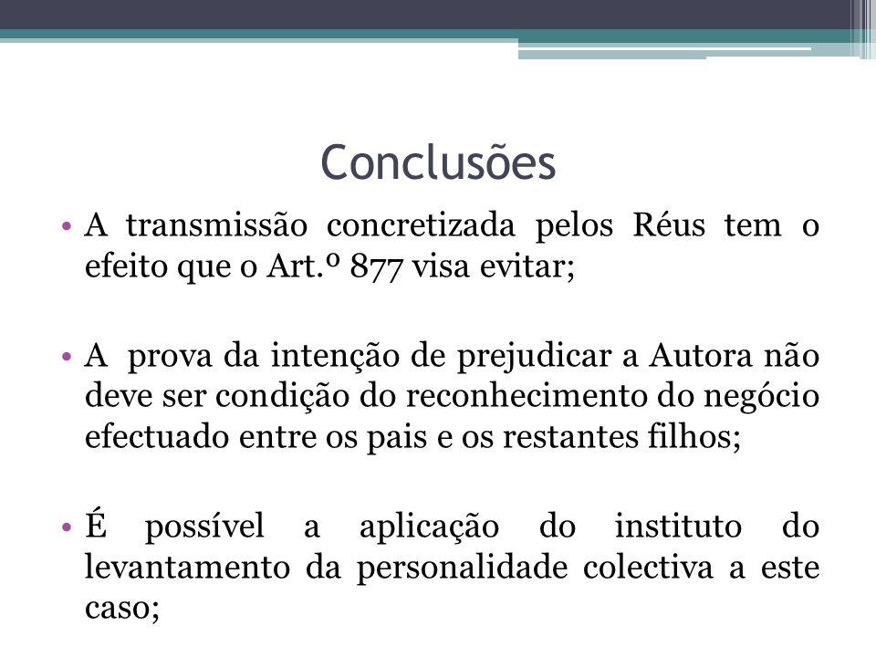 Conclusões A transmissão concretizada pelos Réus tem o efeito que o Art.º 877 visa evitar; A prova da intenção de prejudicar a Autora não deve ser con