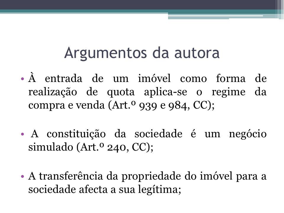 Argumentos da autora À entrada de um imóvel como forma de realização de quota aplica-se o regime da compra e venda (Art.º 939 e 984, CC); A constituiç