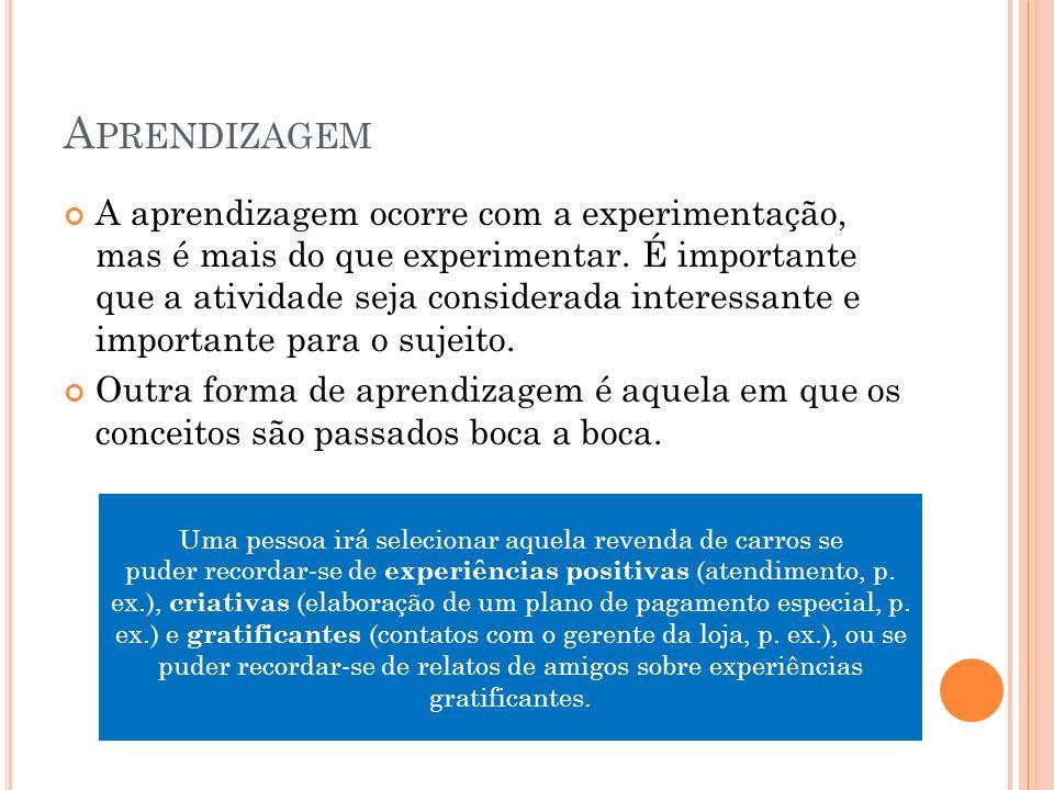 A PRENDIZAGEM A aprendizagem ocorre com a experimentação, mas é mais do que experimentar.
