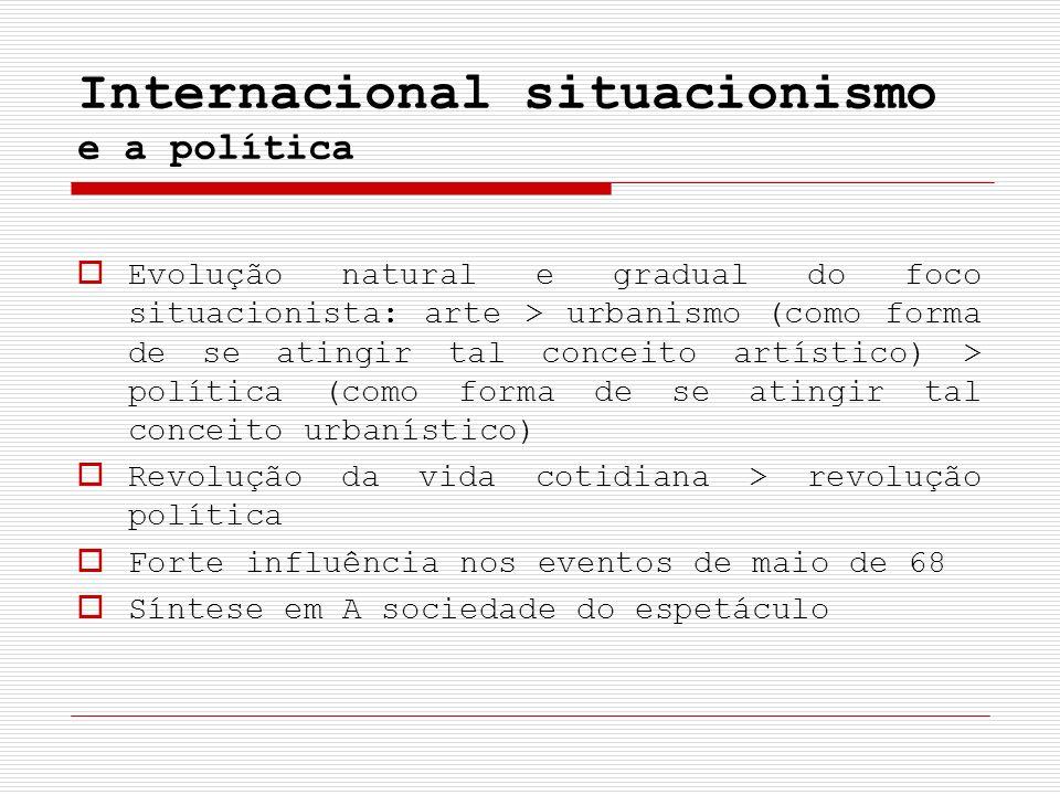 Internacional situacionismo e a política Evolução natural e gradual do foco situacionista: arte > urbanismo (como forma de se atingir tal conceito art