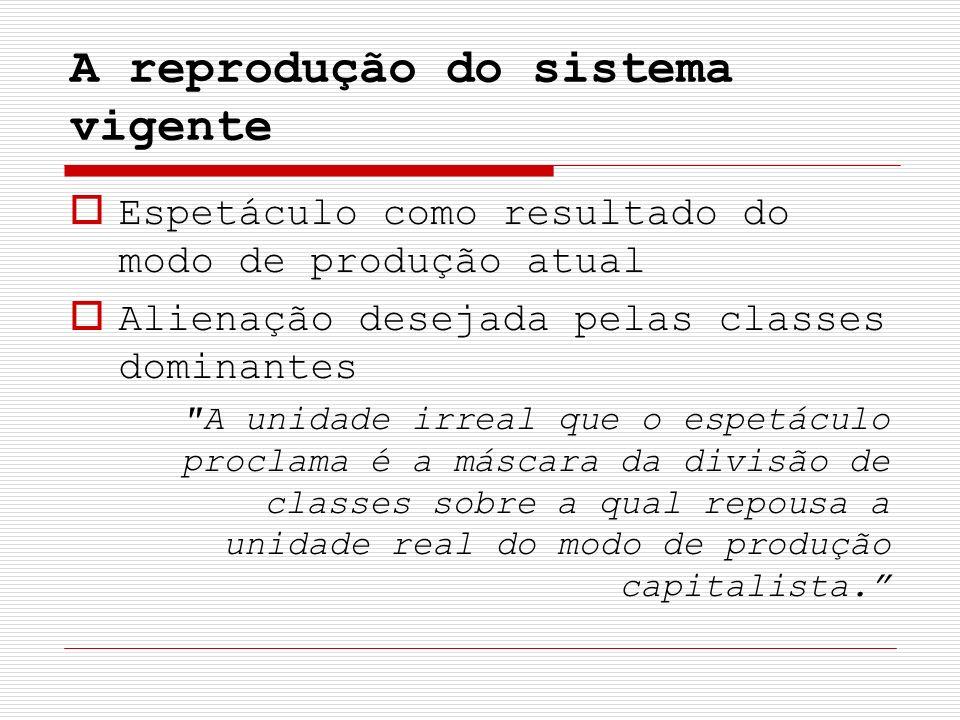 A reprodução do sistema vigente Espetáculo como resultado do modo de produção atual Alienação desejada pelas classes dominantes