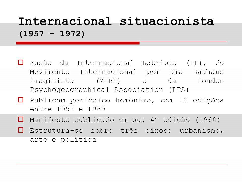 Internacional situacionista (1957 – 1972) Fusão da Internacional Letrista (IL), do Movimento Internacional por uma Bauhaus Imaginista (MIBI) e da Lond