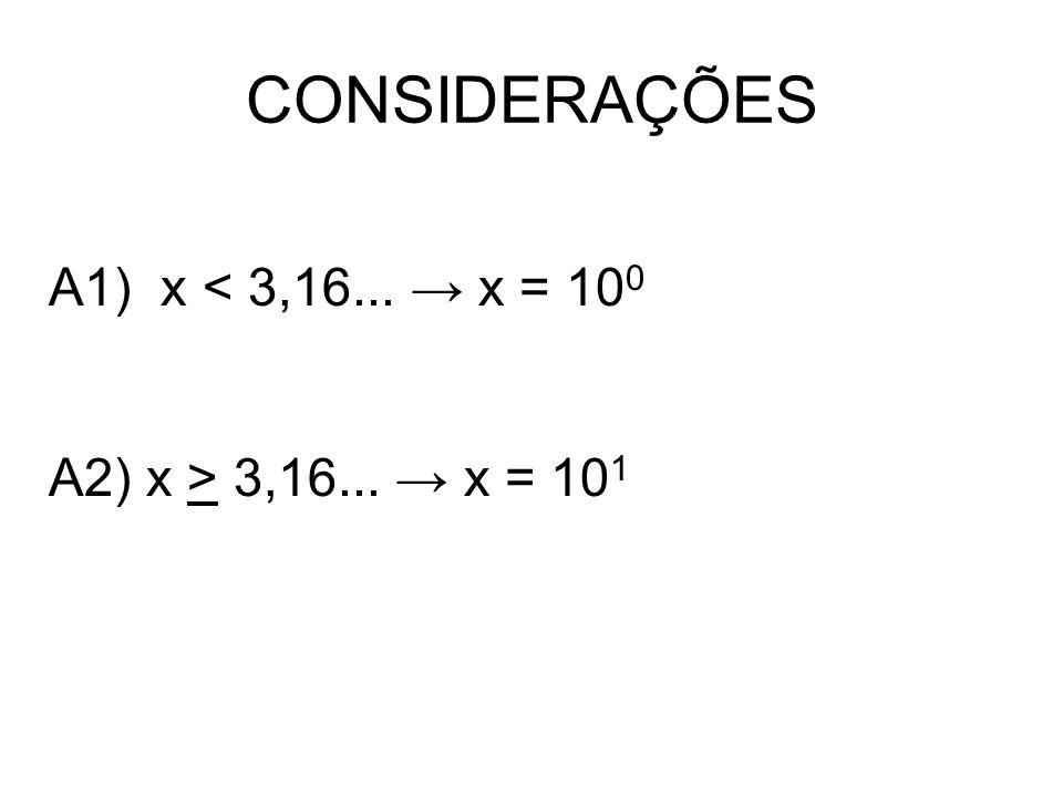 CONSIDERAÇÕES A1) x < 3,16... x = 10 0 A2) x > 3,16... x = 10 1