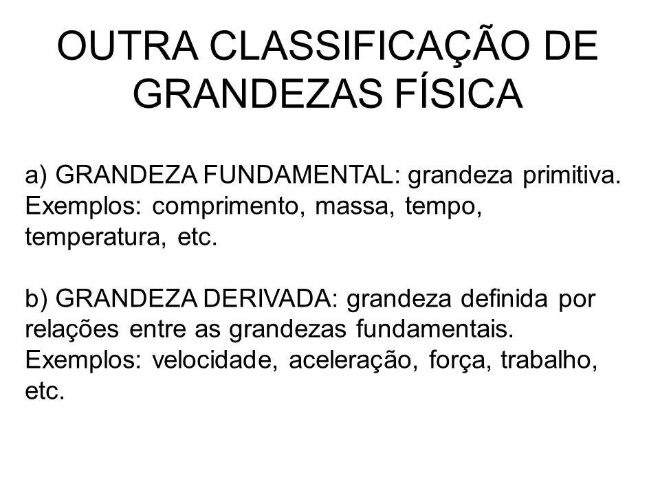 OUTRA CLASSIFICAÇÃO DE GRANDEZAS FÍSICA a) GRANDEZA FUNDAMENTAL: grandeza primitiva. Exemplos: comprimento, massa, tempo, temperatura, etc. b) GRANDEZ
