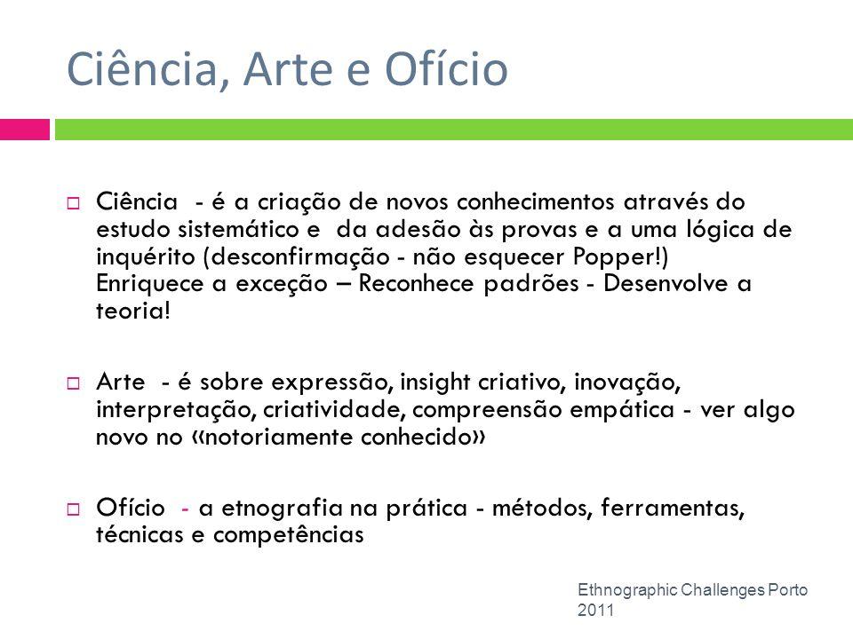 Ciência, Arte e Ofício Ethnographic Challenges Porto 2011 Ciência - é a criação de novos conhecimentos através do estudo sistemático e da adesão às pr