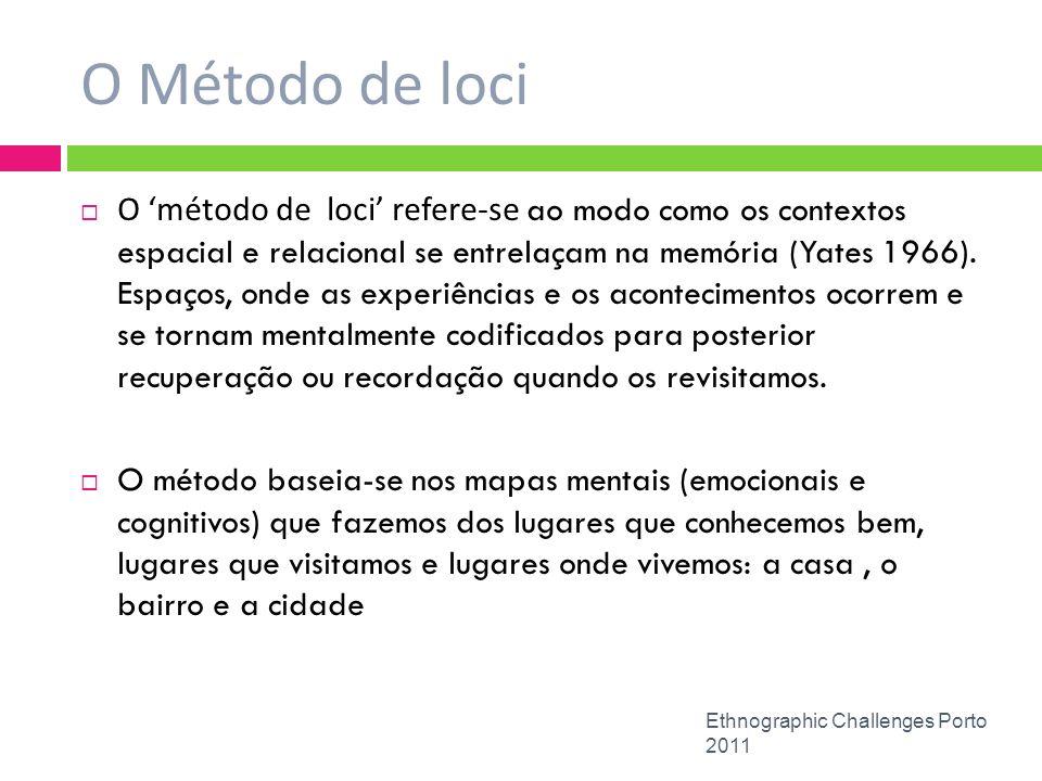 O Método de loci Ethnographic Challenges Porto 2011 O método de loci refere-se ao modo como os contextos espacial e relacional se entrelaçam na memóri
