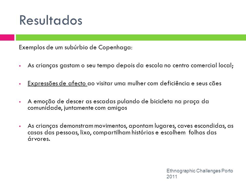 Resultados Ethnographic Challenges Porto 2011 Exemplos de um subúrbio de Copenhaga: As crianças gastam o seu tempo depois da escola no centro comercia