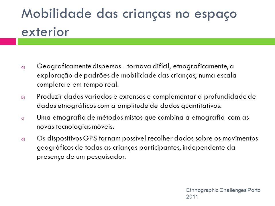 Mobilidade das crianças no espaço exterior Ethnographic Challenges Porto 2011 a) Geograficamente dispersos - tornava difícil, etnograficamente, a expl