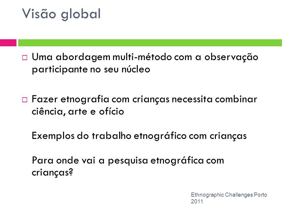 Visão global Ethnographic Challenges Porto 2011 Uma abordagem multi-método com a observação participante no seu núcleo Fazer etnografia com crianças n