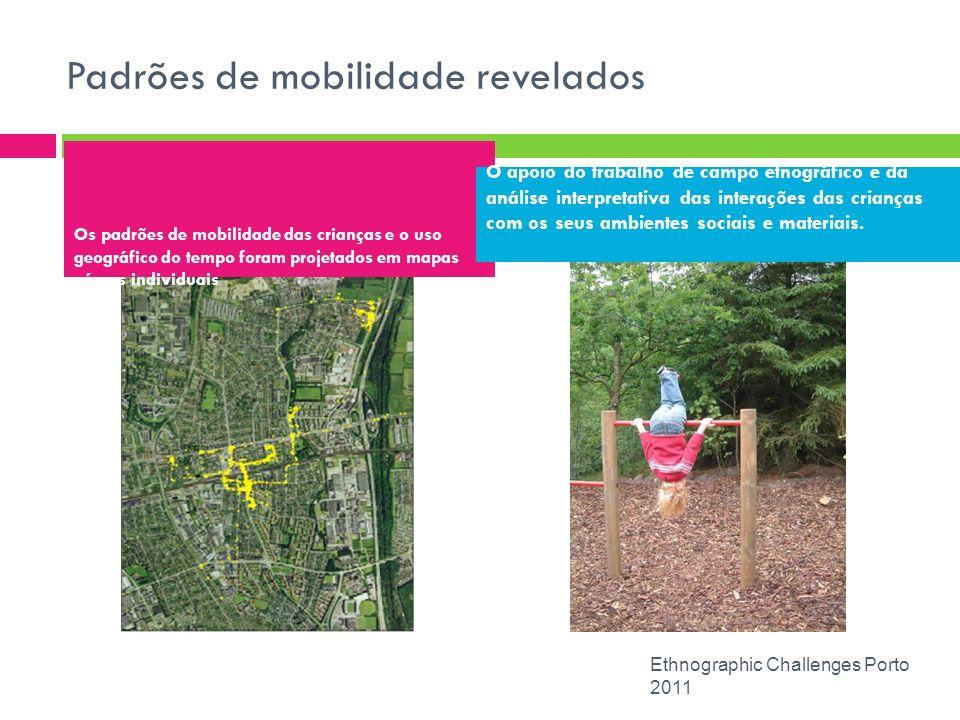 Padrões de mobilidade revelados Ethnographic Challenges Porto 2011 Os padrões de mobilidade das crianças e o uso geográfico do tempo foram projetados