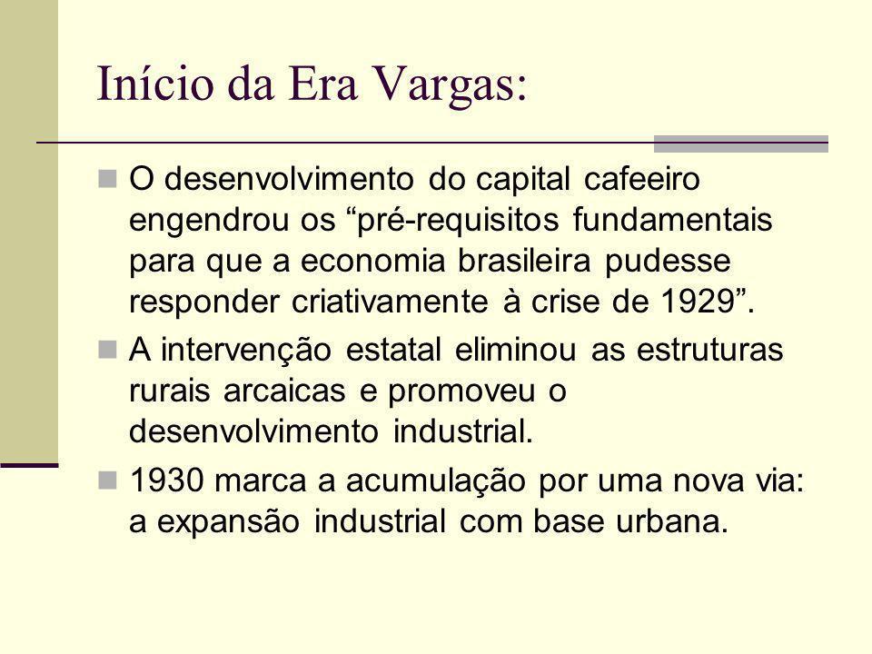 A ASCENSÃO DE VARGAS: Marca o fim da República Velha (Primeira República, onde havia a hegemonia dos cafeicultores e o republicanismo formal combinava-se com o autoritarismo).