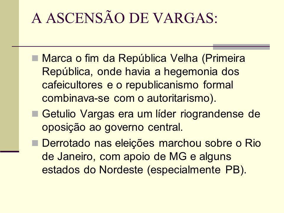 A ASCENSÃO DE VARGAS: Marca o fim da República Velha (Primeira República, onde havia a hegemonia dos cafeicultores e o republicanismo formal combinava