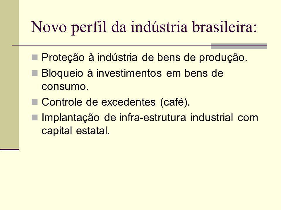 Novo perfil da indústria brasileira: Proteção à indústria de bens de produção. Bloqueio à investimentos em bens de consumo. Controle de excedentes (ca