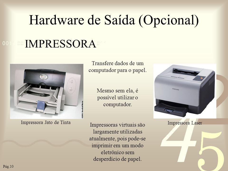 Hardware de Saída (Opcional) IMPRESSORA Transfere dados de um computador para o papel. Mesmo sem ela, é possível utilizar o computador. Impressoras vi