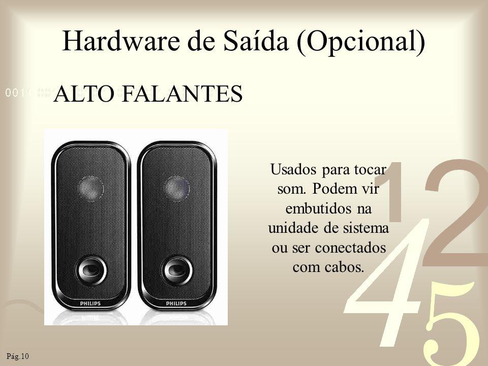 Hardware de Saída (Opcional) ALTO FALANTES Usados para tocar som. Podem vir embutidos na unidade de sistema ou ser conectados com cabos. Pág.10
