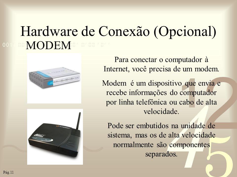 Hardware de Conexão (Opcional) MODEM Para conectar o computador à Internet, você precisa de um modem. Modem é um dispositivo que envia e recebe inform