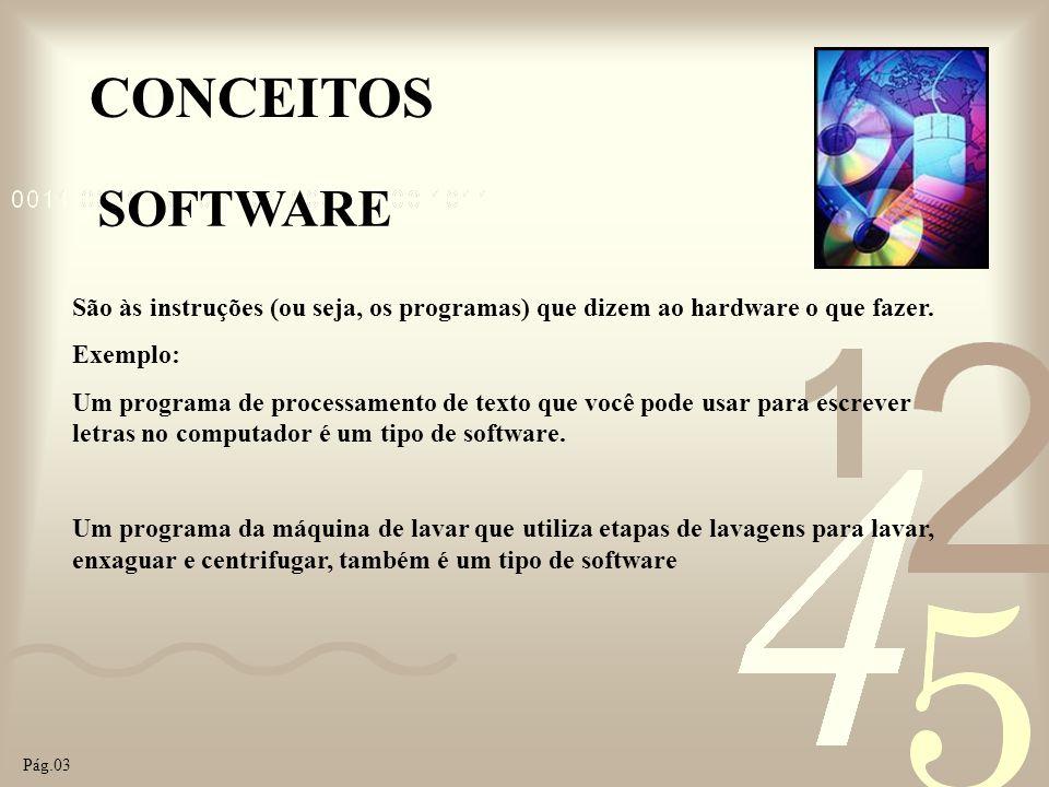 CONCEITOS SOFTWARE São às instruções (ou seja, os programas) que dizem ao hardware o que fazer. Exemplo: Um programa de processamento de texto que voc