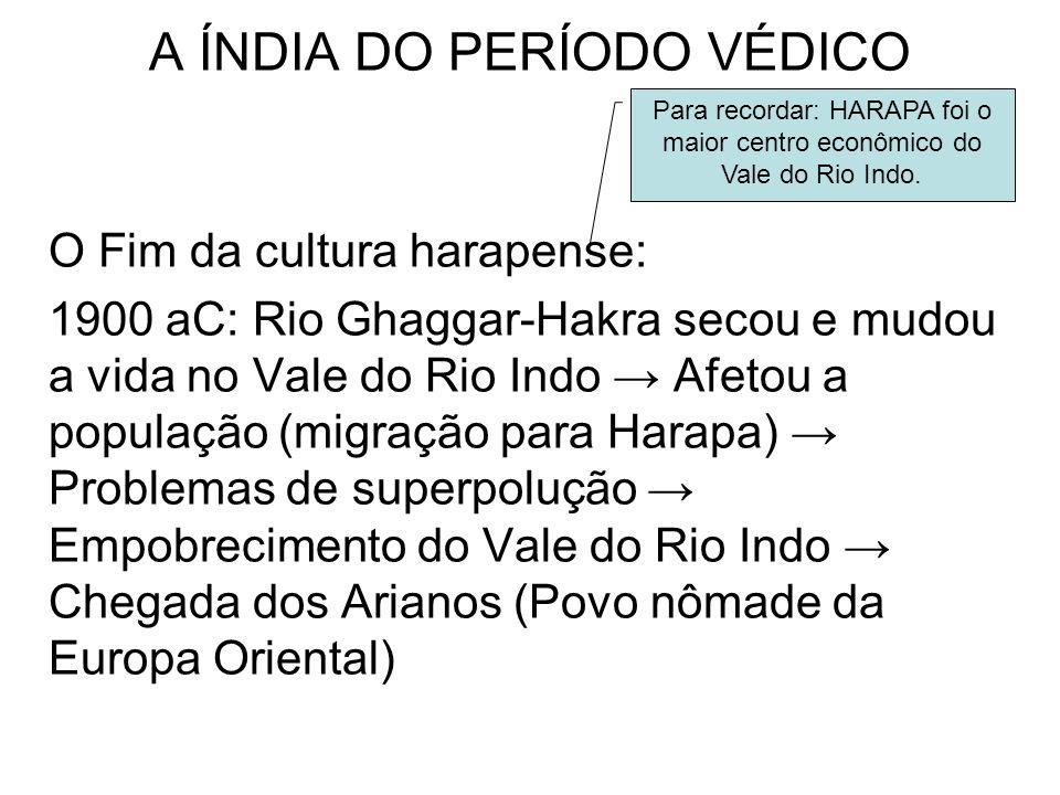 A ÍNDIA DO PERÍODO VÉDICO O Fim da cultura harapense: 1900 aC: Rio Ghaggar-Hakra secou e mudou a vida no Vale do Rio Indo Afetou a população (migração