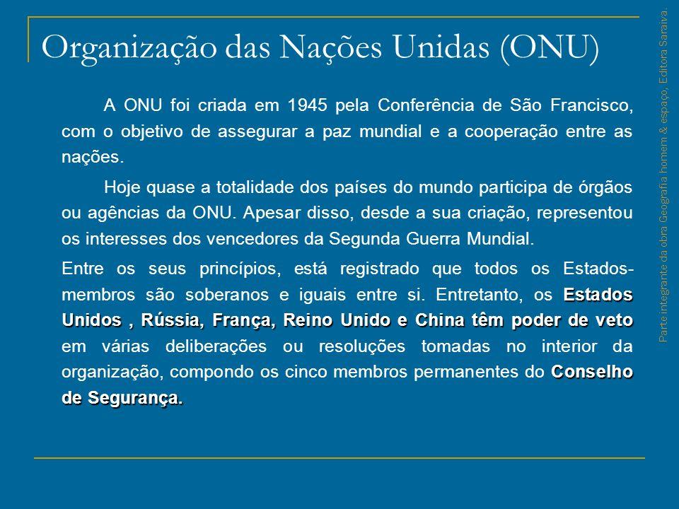Organização das Nações Unidas (ONU) A ONU foi criada em 1945 pela Conferência de São Francisco, com o objetivo de assegurar a paz mundial e a cooperaç