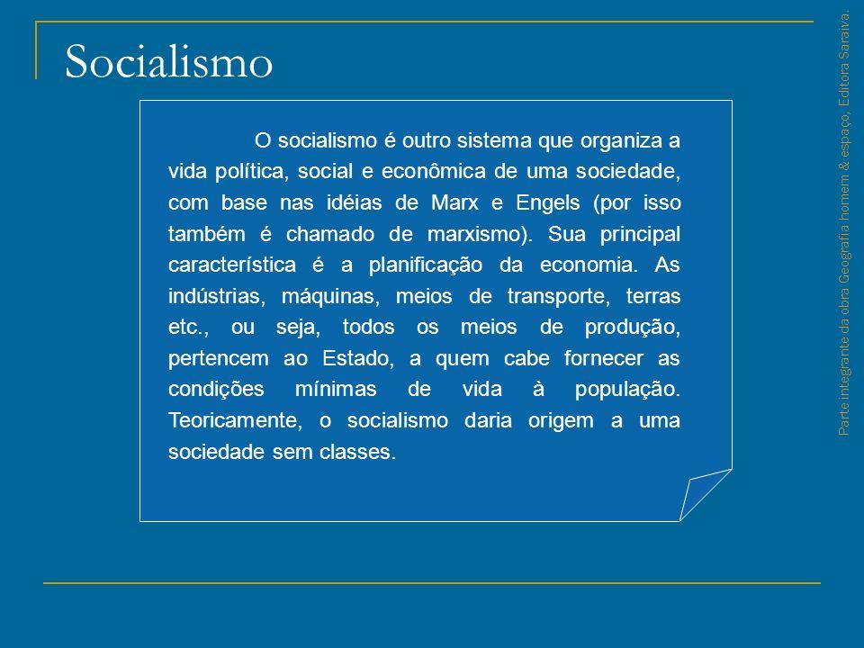 Socialismo Parte integrante da obra Geografia homem & espaço, Editora Saraiva. O socialismo é outro sistema que organiza a vida política, social e eco