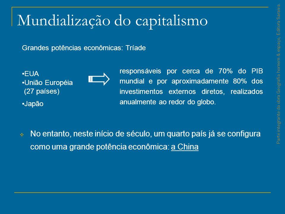 Mundialização do capitalismo No entanto, neste início de século, um quarto país já se configura como uma grande potência econômica: a China Parte inte