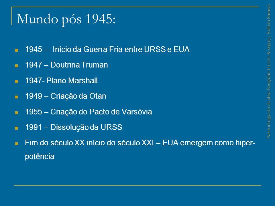 Mundo pós 1945: 1945 – Início da Guerra Fria entre URSS e EUA 1947 – Doutrina Truman 1947- Plano Marshall 1949 – Criação da Otan 1955 – Criação do Pac