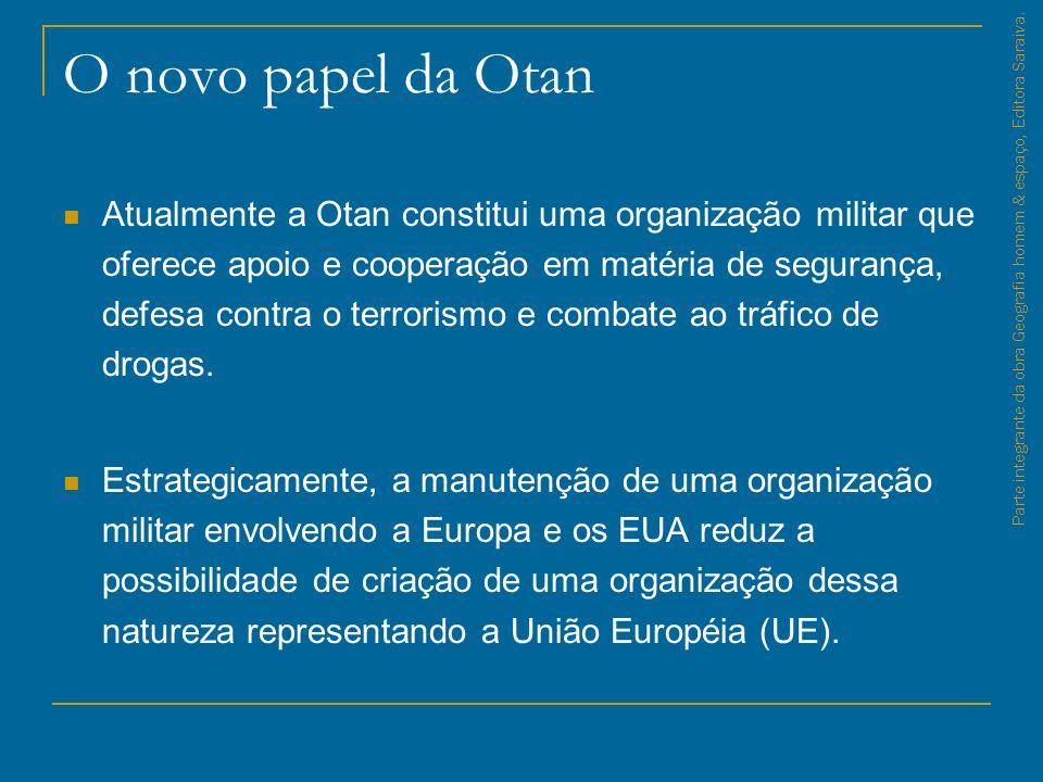 O novo papel da Otan Atualmente a Otan constitui uma organização militar que oferece apoio e cooperação em matéria de segurança, defesa contra o terro