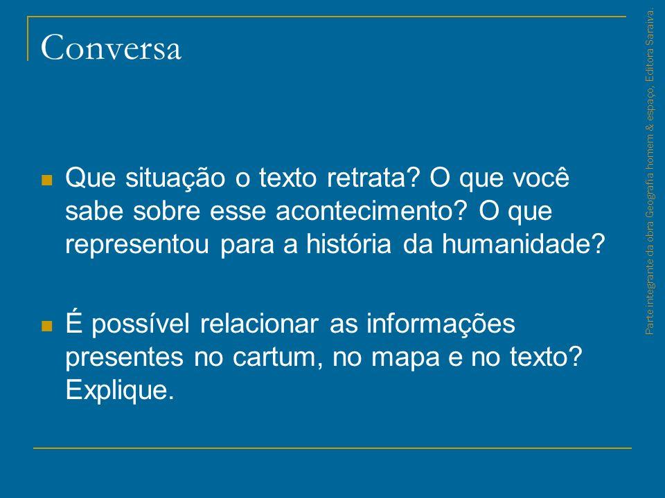 Relações Políticas e Econômicas no Espaço Mundial Parte integrante da obra Geografia homem & espaço, Editora Saraiva.