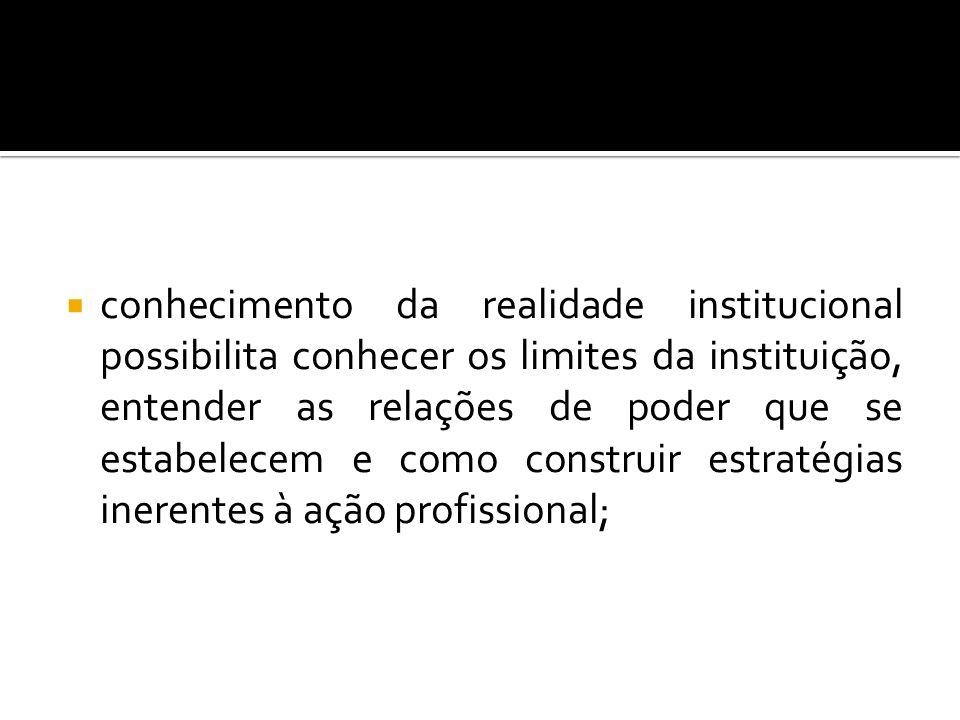 conhecimento da realidade institucional possibilita conhecer os limites da instituição, entender as relações de poder que se estabelecem e como constr