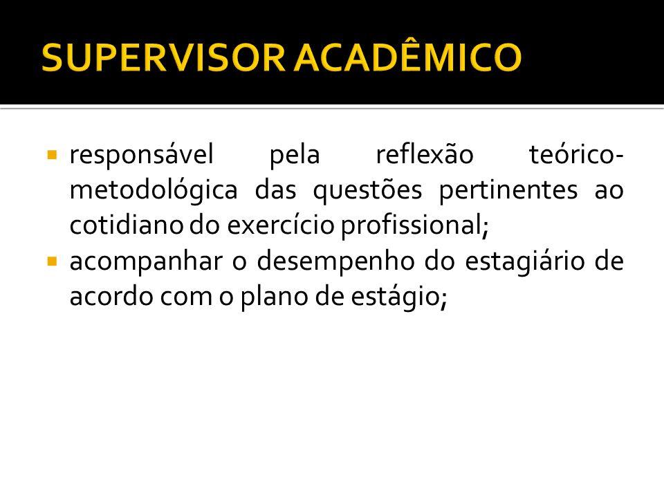 responsável pela reflexão teórico- metodológica das questões pertinentes ao cotidiano do exercício profissional; acompanhar o desempenho do estagiário