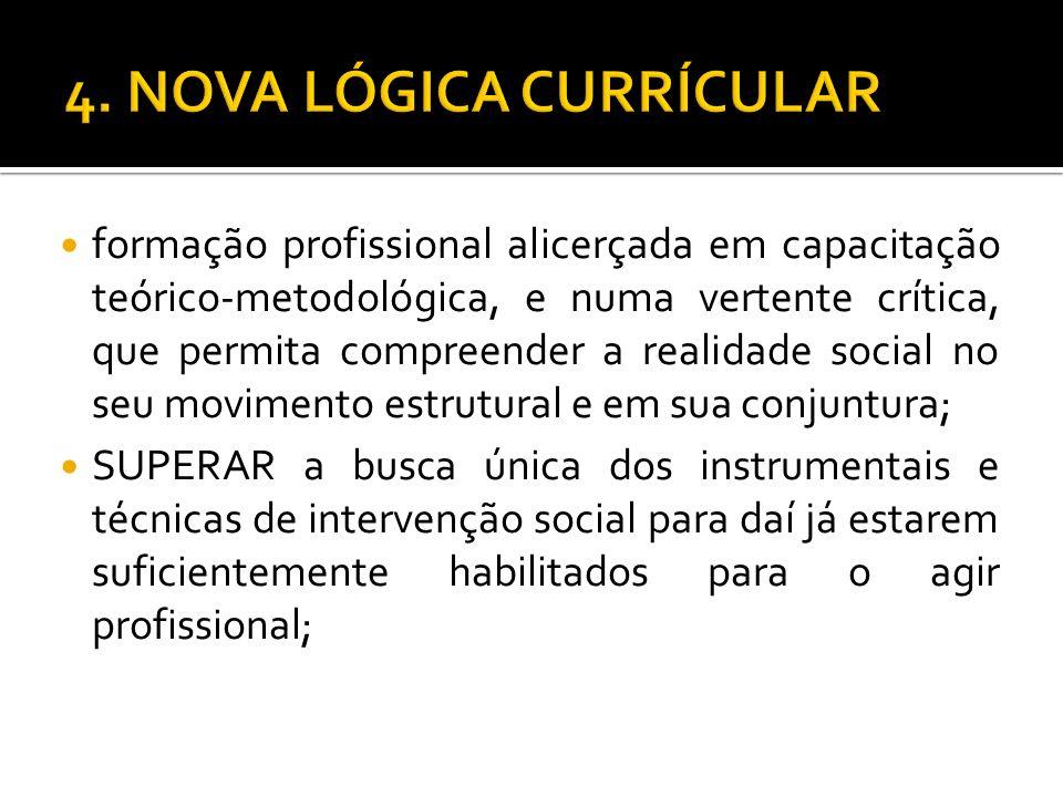 formação profissional alicerçada em capacitação teórico-metodológica, e numa vertente crítica, que permita compreender a realidade social no seu movim