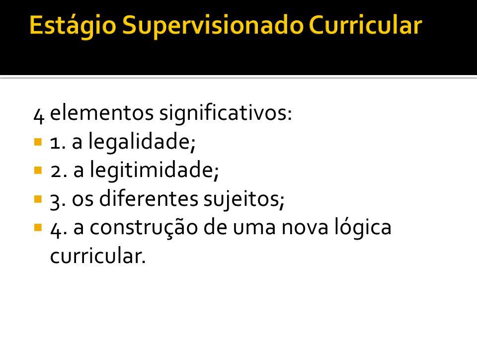 4 elementos significativos: 1. a legalidade; 2. a legitimidade; 3. os diferentes sujeitos; 4. a construção de uma nova lógica curricular.