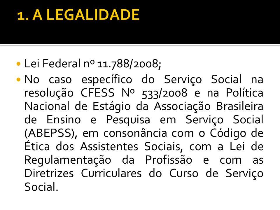 Lei Federal nº 11.788/2008; No caso específico do Serviço Social na resolução CFESS Nº 533/2008 e na Política Nacional de Estágio da Associação Brasil