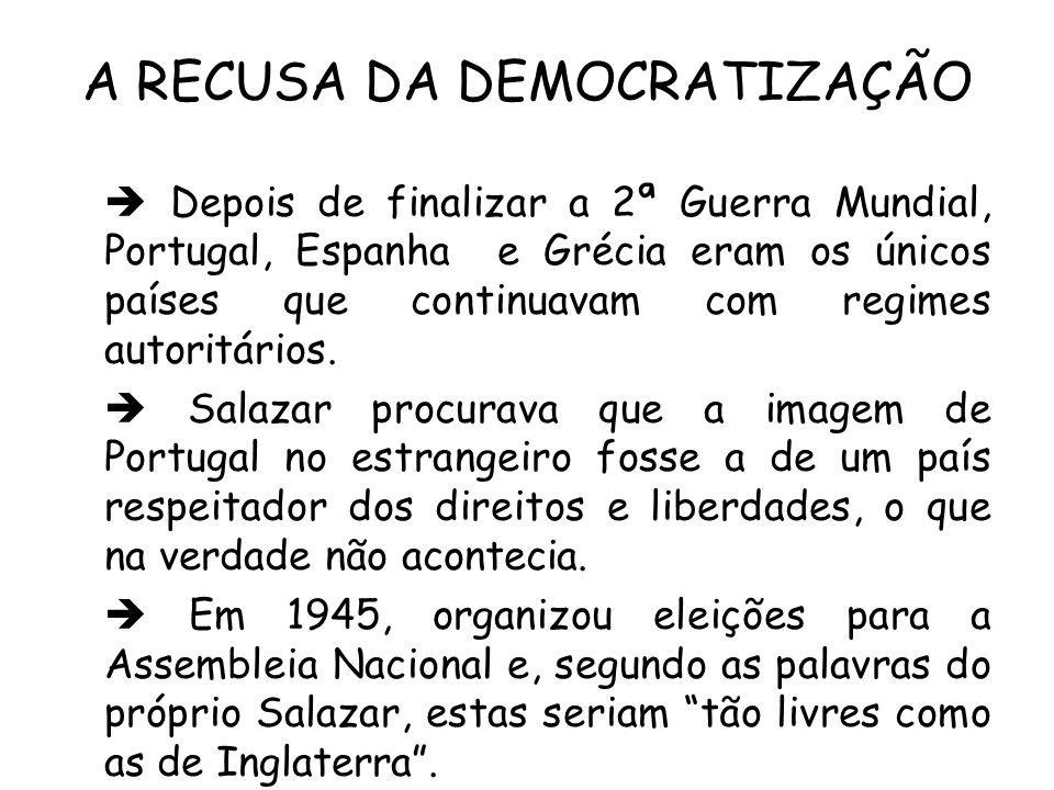 A RECUSA DA DEMOCRATIZAÇÃO Depois de finalizar a 2ª Guerra Mundial, Portugal, Espanha e Grécia eram os únicos países que continuavam com regimes autor