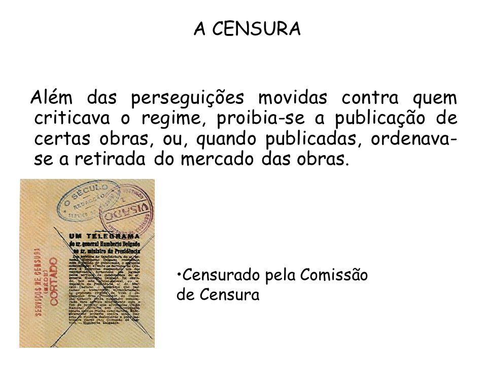Além das perseguições movidas contra quem criticava o regime, proibia-se a publicação de certas obras, ou, quando publicadas, ordenava- se a retirada