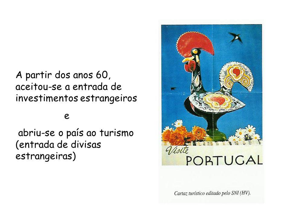 A partir dos anos 60, aceitou-se a entrada de investimentos estrangeiros e abriu-se o país ao turismo (entrada de divisas estrangeiras)