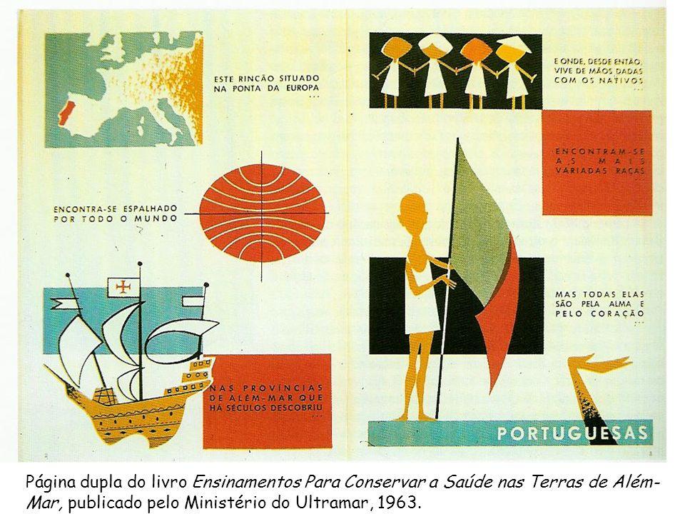 Página dupla do livro Ensinamentos Para Conservar a Saúde nas Terras de Além- Mar, publicado pelo Ministério do Ultramar, 1963.