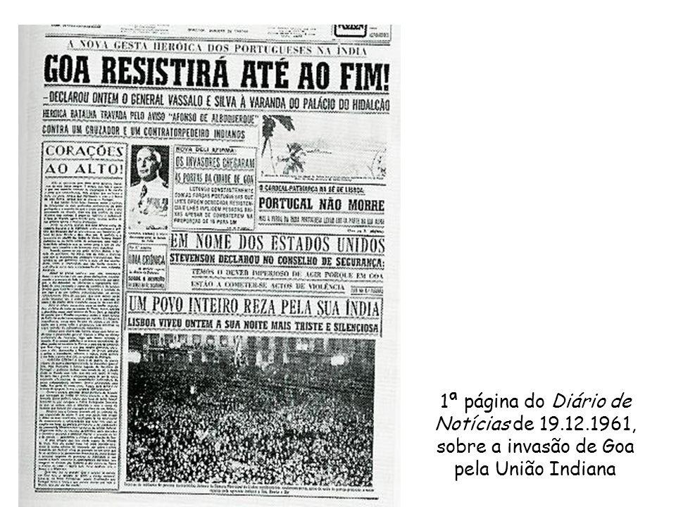 1ª página do Diário de Notícias de 19.12.1961, sobre a invasão de Goa pela União Indiana