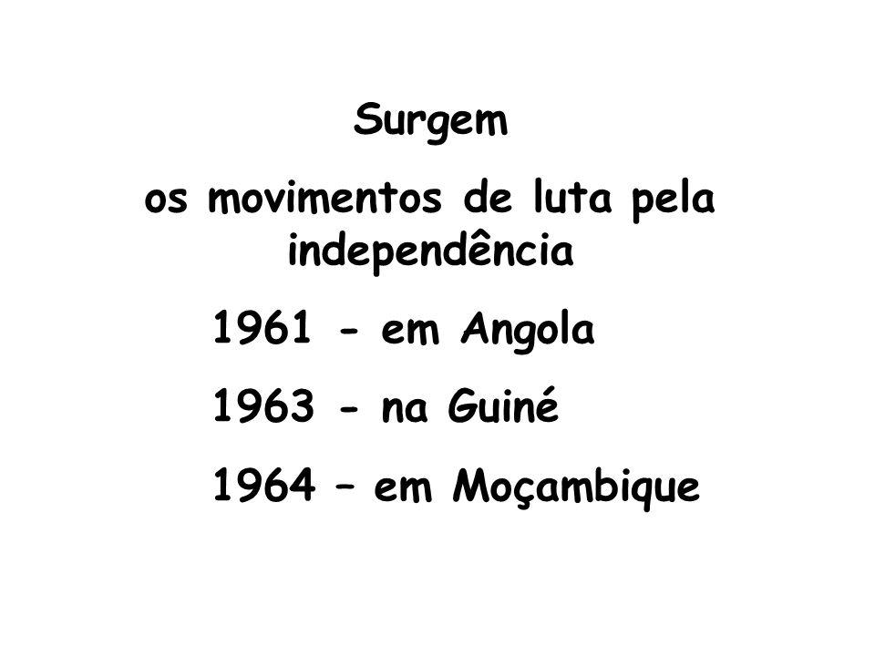 Surgem os movimentos de luta pela independência 1961 - em Angola 1963 - na Guiné 1964 – em Moçambique