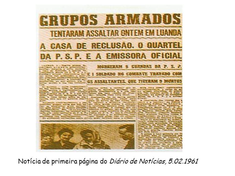 Notícia de primeira página do Diário de Notícias, 5.02.1961