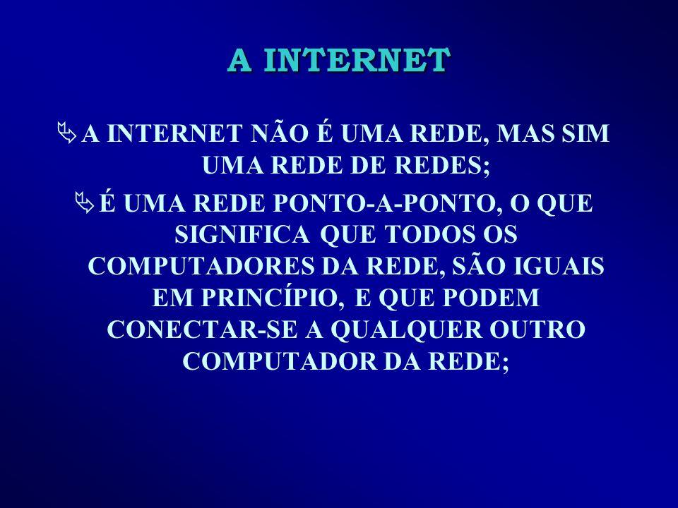 A INTERNET A INTERNET NÃO É UMA REDE, MAS SIM UMA REDE DE REDES; É UMA REDE PONTO-A-PONTO, O QUE SIGNIFICA QUE TODOS OS COMPUTADORES DA REDE, SÃO IGUAIS EM PRINCÍPIO, E QUE PODEM CONECTAR-SE A QUALQUER OUTRO COMPUTADOR DA REDE;