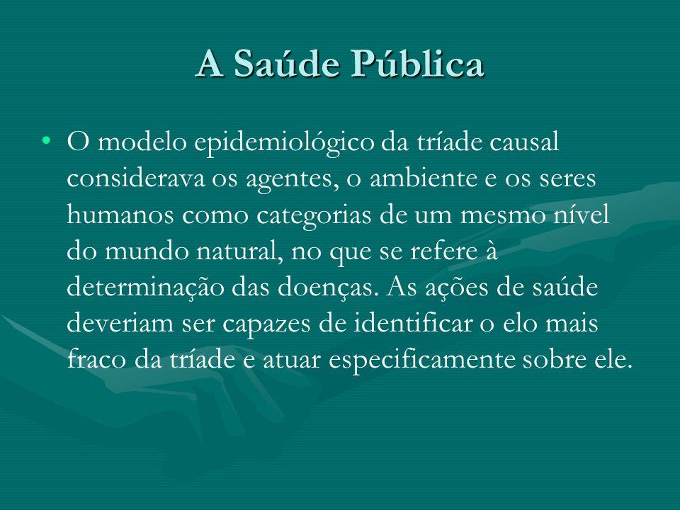 A Saúde Pública O modelo epidemiológico da tríade causal considerava os agentes, o ambiente e os seres humanos como categorias de um mesmo nível do mu