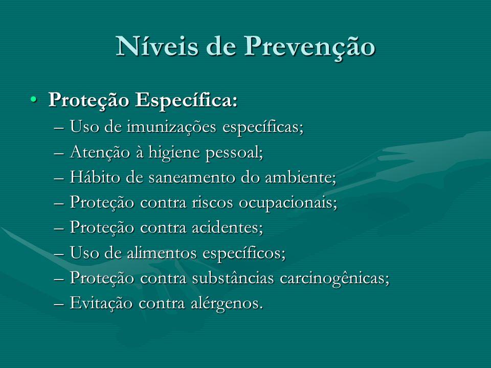 Níveis de Prevenção Proteção Específica:Proteção Específica: –Uso de imunizações específicas; –Atenção à higiene pessoal; –Hábito de saneamento do amb