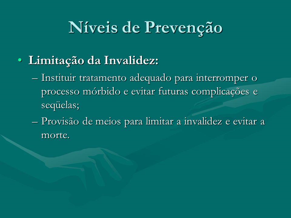 Níveis de Prevenção Limitação da Invalidez:Limitação da Invalidez: –Instituir tratamento adequado para interromper o processo mórbido e evitar futuras