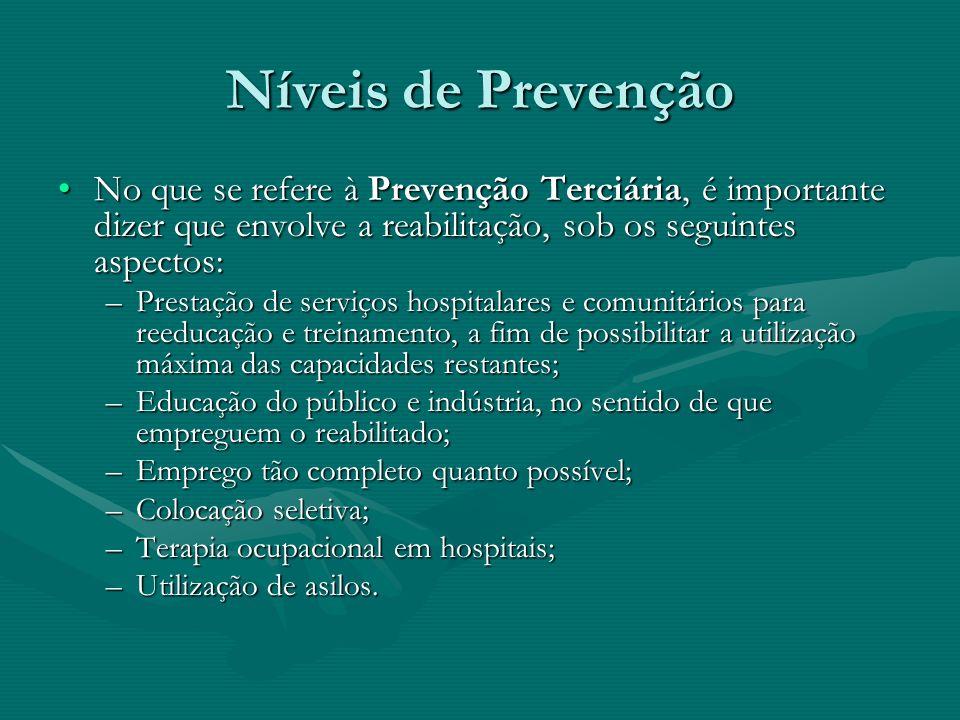 Níveis de Prevenção No que se refere à Prevenção Terciária, é importante dizer que envolve a reabilitação, sob os seguintes aspectos:No que se refere